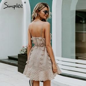 Image 4 - Simplee Elegant flower embroidery short dress Women sexy spaghetti strap summer sundress Female lace up mini beach dress 2019