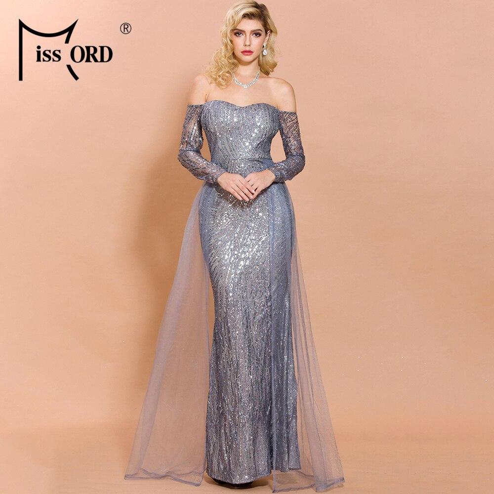 Missord 2019 Sexy Slash Neck Sequins Sexy Women Party Dress High Split Backless Elegant Women Maxi Dresses FT18696-3