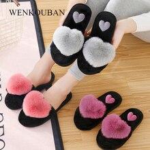 Furry Slippers Indoor Shoes Winter Ladies Fur Slides Love Fourrure Claquette Warm Heart
