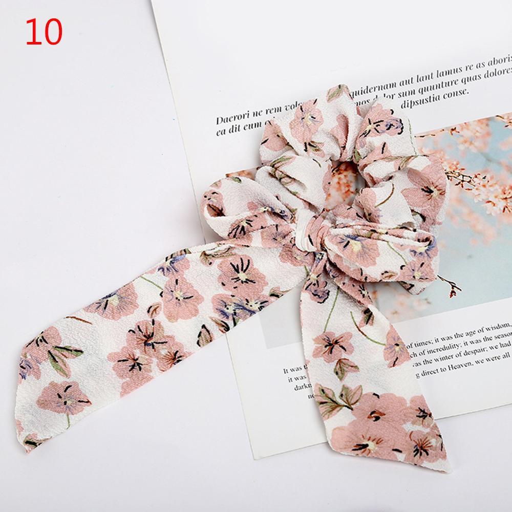 Femmes banderoles chouchous à pois imprimé Floral élastique noeud cheveux corde fille cheveux cravates coréen doux cheveux accessoires chapeaux 58