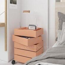 Drawer Bedside Table Removable-Storage-Cabinet Modern with Wheel 1PC Swivel Revolve Loft-Design