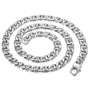 Image 5 - Davieslee Mens Necklace 316L Stainless Steel Biker Chain Necklaces for Men Silver Color Punk Jewelry 9.5mm 18 36inch LHN01