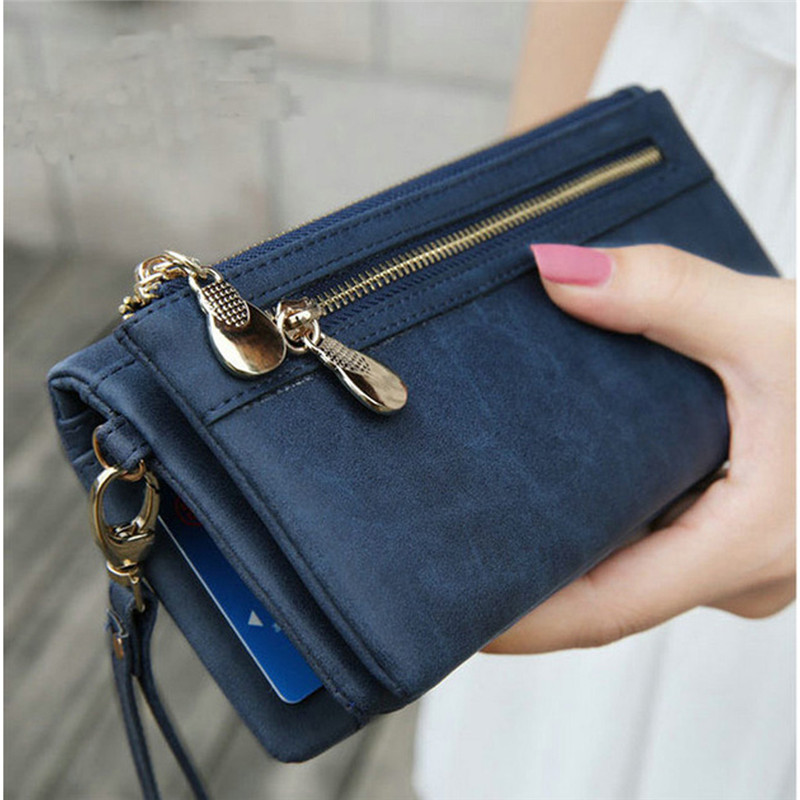 Fashion Women Wallets Dull Polish Leather Wallet Double Zipper Day Clutch Purse Wristlet Coin Purse Card Holder Billetera 838559
