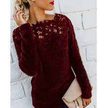LOOZYKIT Women Slim Sweater Fashion Lace Neck Tops Long Sleeve Pullover Plus Size O Neck Knitwear Top Lace Floral Collar Winter цена 2017