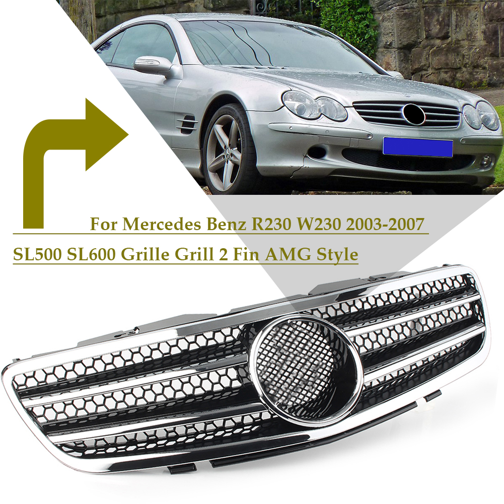 Car Front Grill 2 Fin AMG Style Upper Grille For <font><b>Mercedes</b></font> Benz R230 W230 2003 2004 2005 2006 2007 <font><b>SL500</b></font> SL600 image