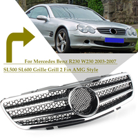 Car Front Grill 2 Fin AMG Style Upper Grille For Mercedes Benz R230 W230 2003 2004 2005 2006 SL500 SL600