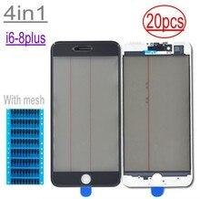 20 adet kulaklık mesh 4in1 soğuk pres için iPhone 8 7 6 6s artı ön ekran dış cam + çerçeve + OCA + polarize ekran değiştirme
