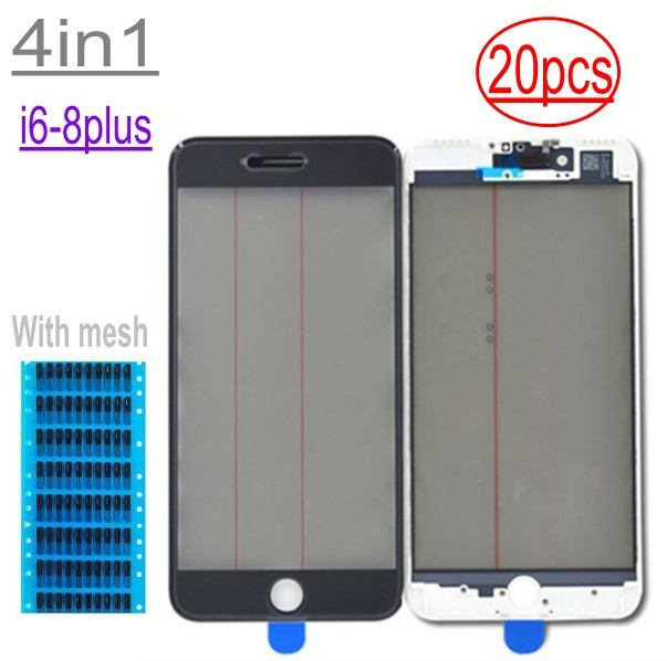 20pcs Earpiece mesh 4in1 Cold Press For iPhone 8 7 6 6s plus Front Screen Outer Glass+Frame OCA+Polarizer Screen Replacement