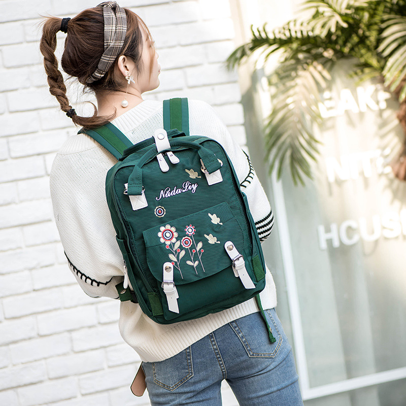New Style WOMEN'S Fashion Handbag Embroidered Diaper Bag WOMEN'S Backpack Outdoor Leisure Bag Large Capacity Travel Bag