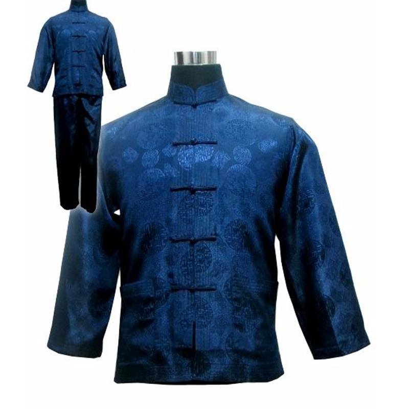 Chinese Men's Satin Kung Fu Suit Navy Blue Traditional Male Wu Shu Sets Tai Chi Uniform Clothing Plus Size S-XXXL