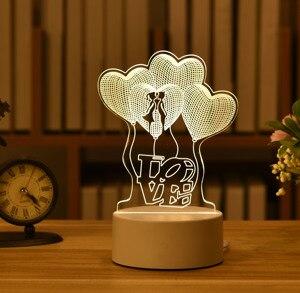 3D акриловый светильник в виде кролика и Луны, светодиодный ночник, 1 шт., подарок на день Святого Валентина, любовь, свадебный подарок, розовый медведь, подарок, пасхальное украшение
