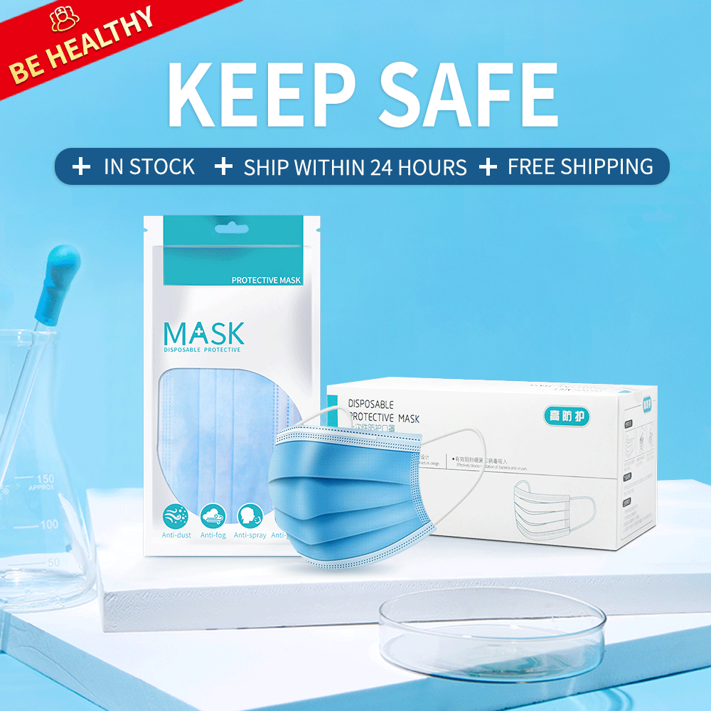 Disposable Mask Face Mask 50 Pcs Protective Satety Mask Anti-Pollution Respirator Mouth Masks PM2.5 3 Layer Elastic Earloop Mask