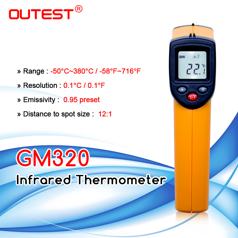Digital Infrared Thermometer Themperature Pyrometer IR Laser  Point Gun Non Contact 330 degree GM320thermometer  kitchenthermometerthermometer ear -