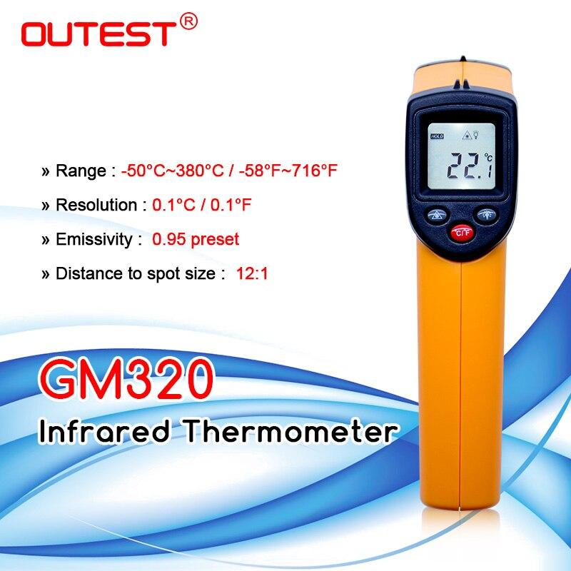 Цифровой инфракрасный термометр с темами пирометр IR лазерный  точечный Пистолет Бесконтактный 330 градусов GM320thermometer  kitchenthermometerthermometer ear -