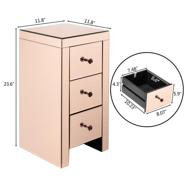 3 Drawer Mirrored Bedside Table 5