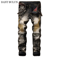 Men Jeans Pants Ripped Embroidery Homme Streetwear Hip Hop Trousers Patches Slim Fit Straight Soft Black Biker