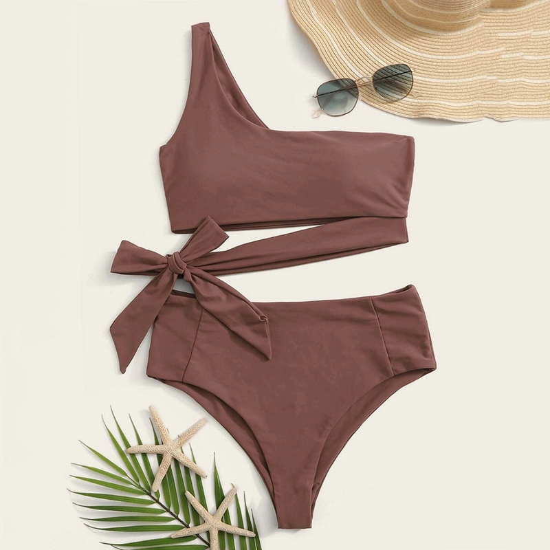 2020 Bowknot Bandage One Shoulder Beach Wear Push Up High Waist <font><b>Bikini</b></font> <font><b>Sets</b></font> Bathing Suit <font><b>Sexy</b></font> Swimsuit Women Swimwear Print image
