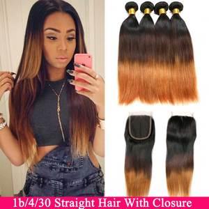 Image 1 - Ombre pacotes de cabelo reto com fechamento remy feixes de cabelo humano com fechamento do laço ombre cabelo peruano 3 pacotes com fechamento