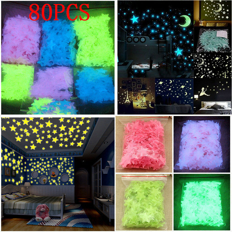 80/100PCS 3D Stars Glow In Dark Luminous Fluorescent Wall Sticker Home Decor Decal For Kids Baby Room Wallpaper Special Festivel