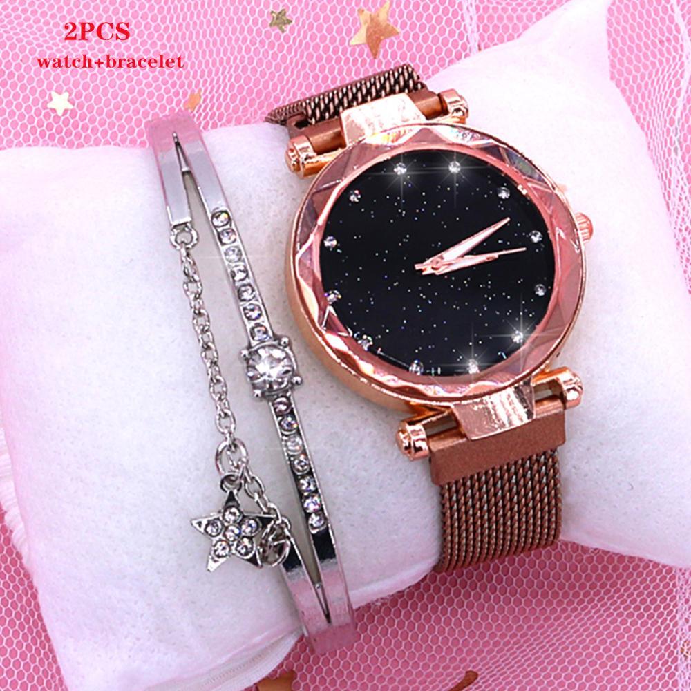 2019 kobiet zegarki magnetyczne Starry Sky kobieta zegar zegarek kwarcowy moda damska zegarek na rękę Reloj Mujer Relogio Feminino 2