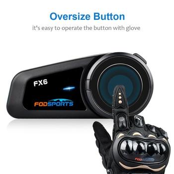 Fodsports FX6 Intercomunicador para casco de motocicleta 6 jinete Auriculares inalámbricos con...