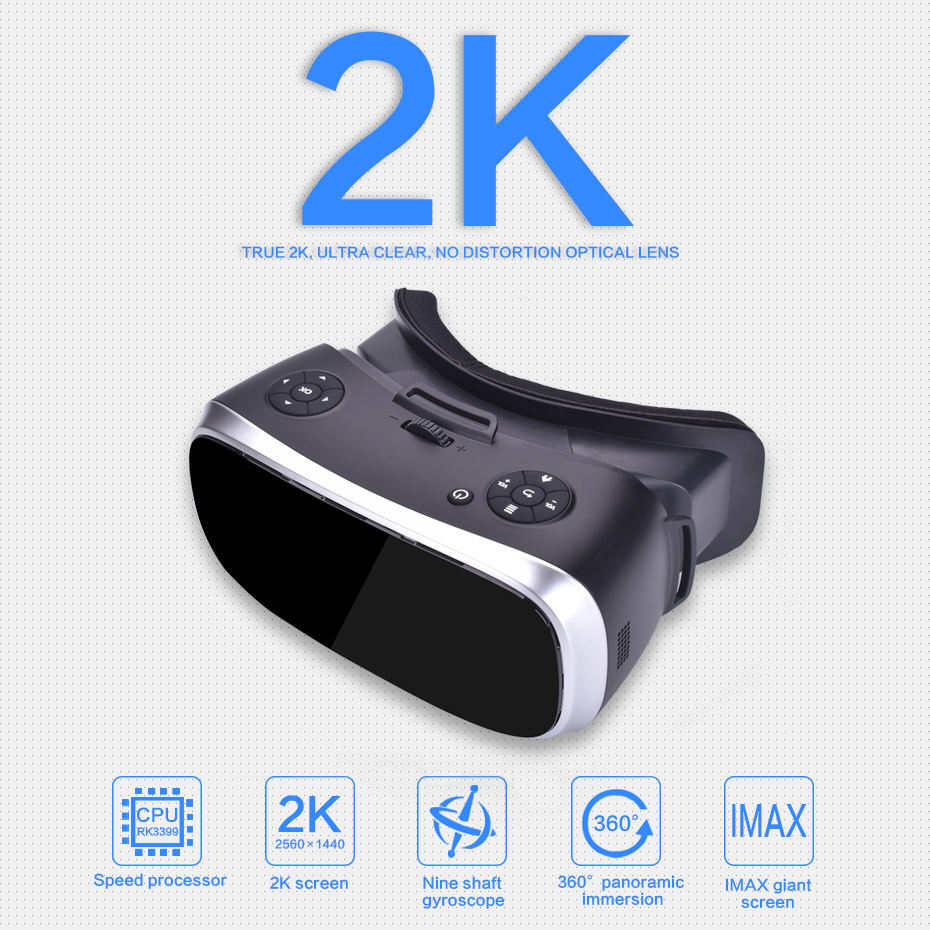 VR All-in-one Virtual Reality Headset 3D 2560*1440 Headset for PS4 one Game Console Android 5.1 4000mAh High Capacity 6