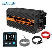 EDECOA-inversor de corriente de onda sinusoidal pura, dispositivo de 12V a 220V, 230V, 1500W, con mando a distancia USB de 5V 2.1A, pantalla LCD