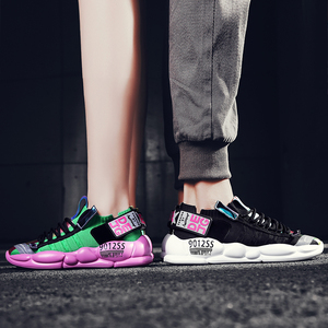 Image 1 - 高 品質の男性と女性のスポーツの靴加硫繊維靴通気性人格ステッチtenis feminino zapatos mujer