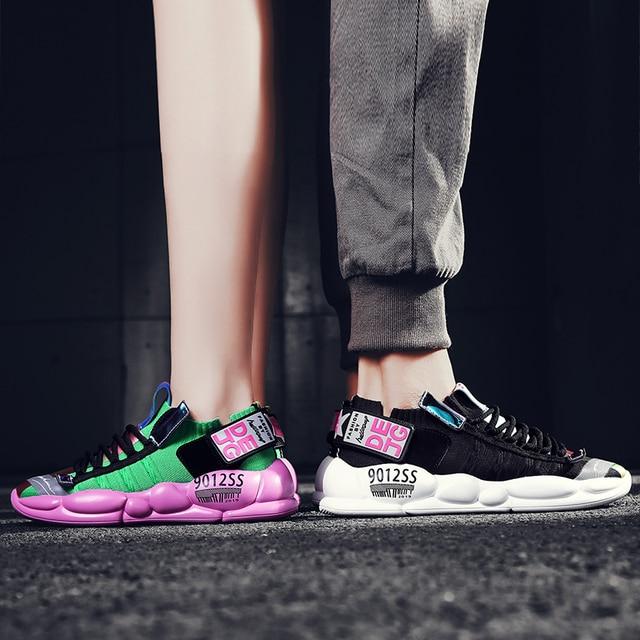 高 品質の男性と女性のスポーツの靴加硫繊維靴通気性人格ステッチtenis feminino zapatos mujer