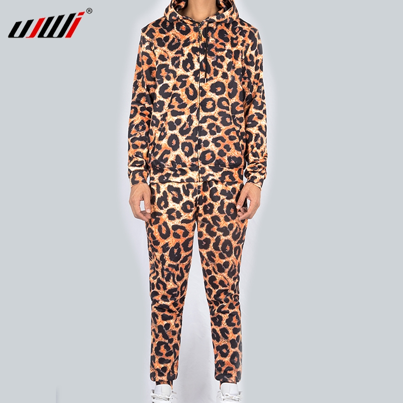 UJWI Winter Leopard 3d Prin Fashion Sweatshirt And Pants Men Couple Wear Funny Breathable Fitness Hoodie + Trousers Combo Suit