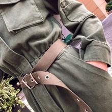 2019 Fall Summer Women Denim Overalls Safari Style Cowboy Vintage Ripped Workwear Slim Fit Long Jumpsuit