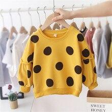 Новая одежда для маленьких девочек хлопковые худи толстовки в горошек с длинными рукавами Повседневные топы на осень и зиму