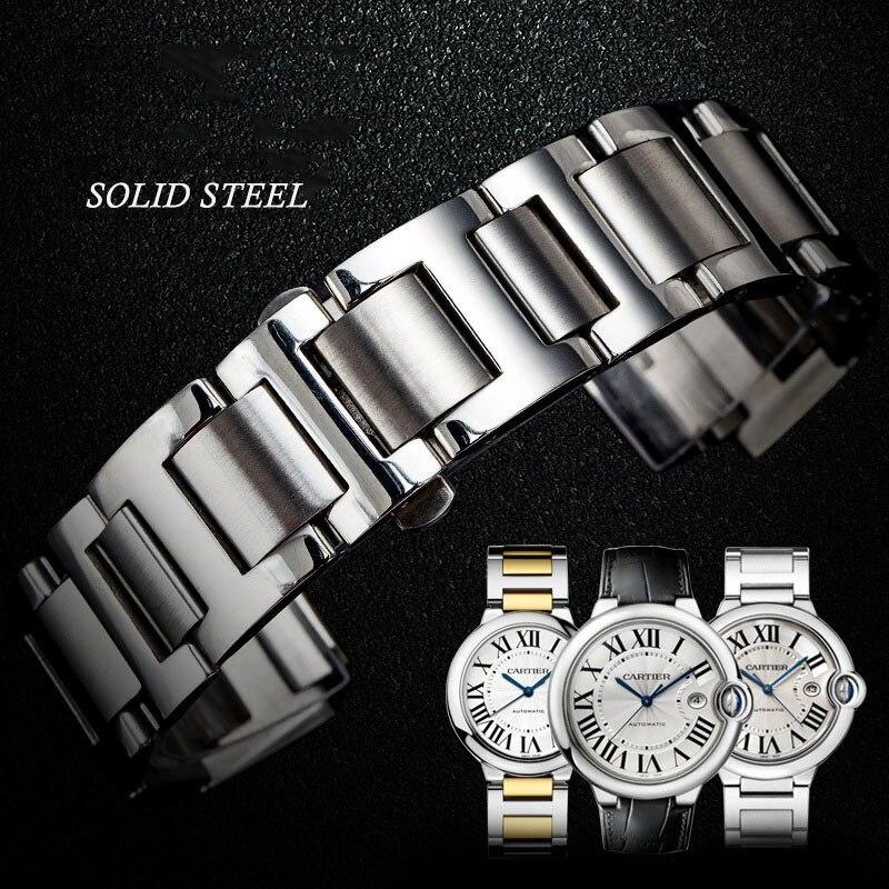 Stainless Steel Watch Strap 14mm 16mm 18mm 20mm 22mm  Suitable For Cartier Ballon Bleu Watches Men's Women's Watchband