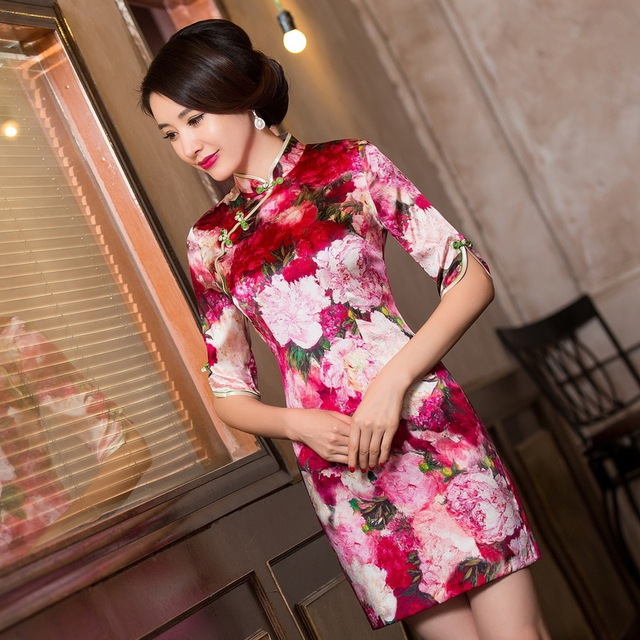 2019 Vestido De Debutante New Silk Cheongsam Improved Fit Middle Sleeve Wedding Toast Vintage Grade Summer Fashion Wholesale