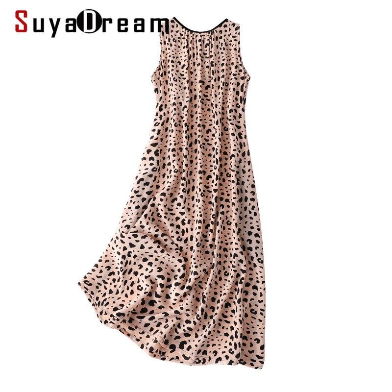 SD Women Long Dress 100%Silk Crepe Leopard Printed A Line Sleeveless Dresses 2020 Spring Summer