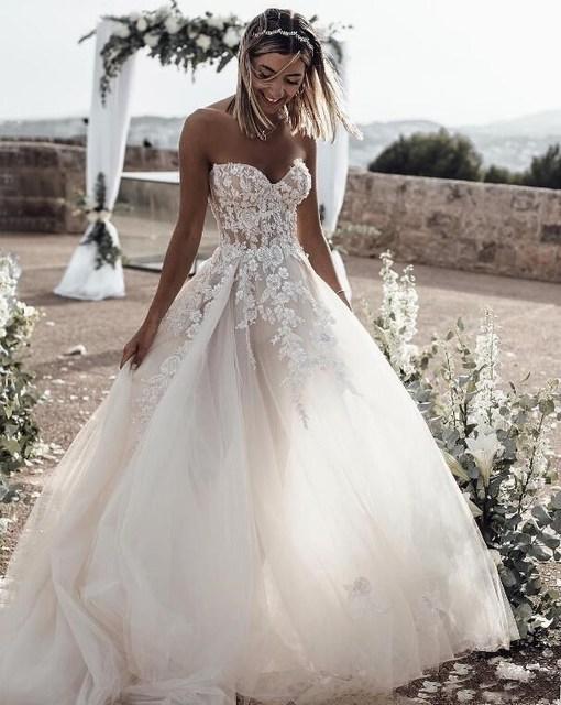 Boho Wedding Dress 2020 Vestidos de novia Sweetheart A Line Court Train Strapless Bride Dresses 3D Appliqued Beaded Princess New