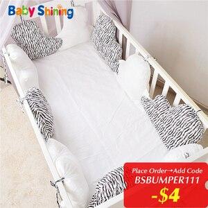 Детский Хлопковый бампер, 10 шт., мягкий, для новорожденных, декор детской кроватки, машинная стирка, Комплект постельного белья, 4 сезона, под...