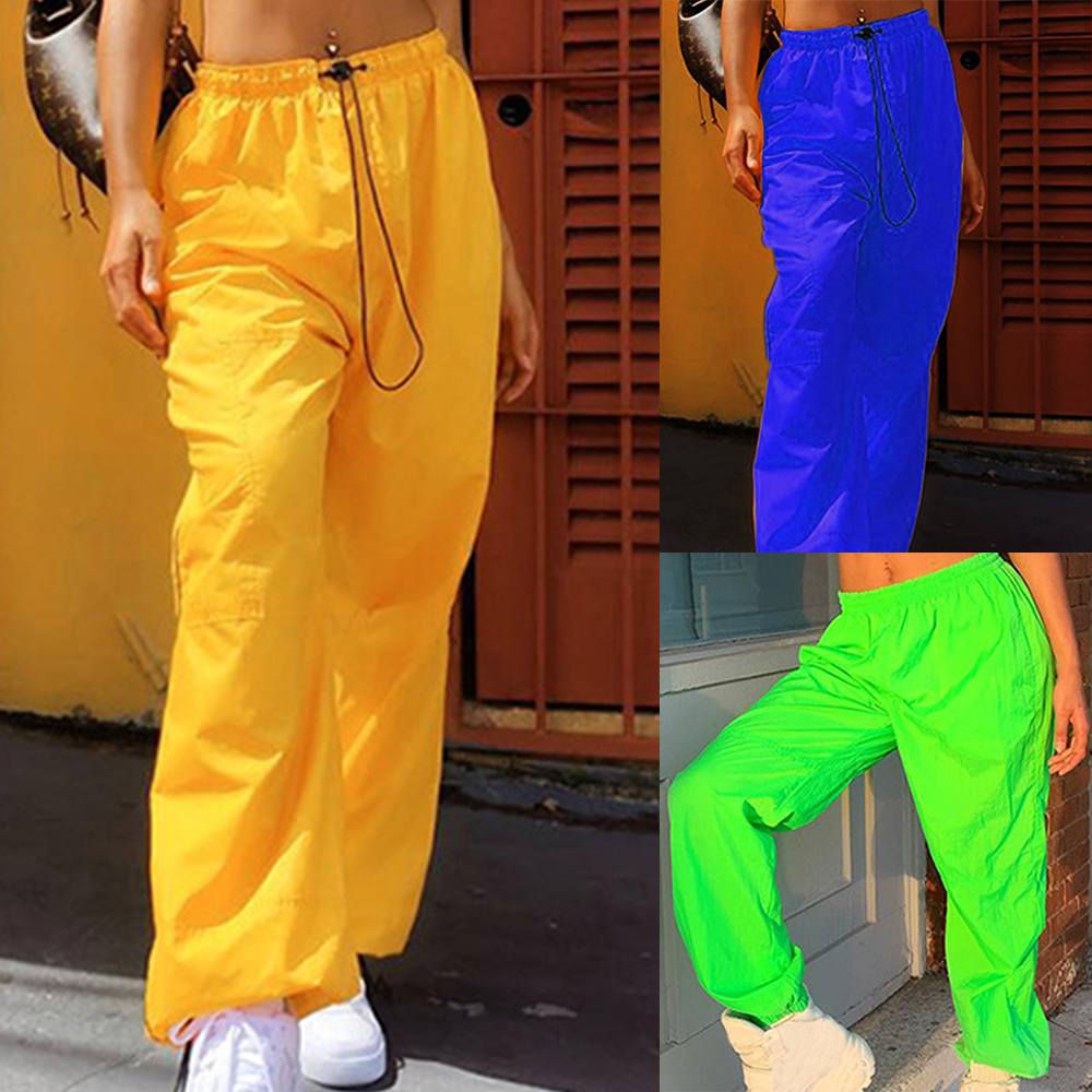 2020 Pants Womens Neon Green Streetwear Pants High Waist Elastic Trousers Long Pants Womens Midi Waist Casual Trousers