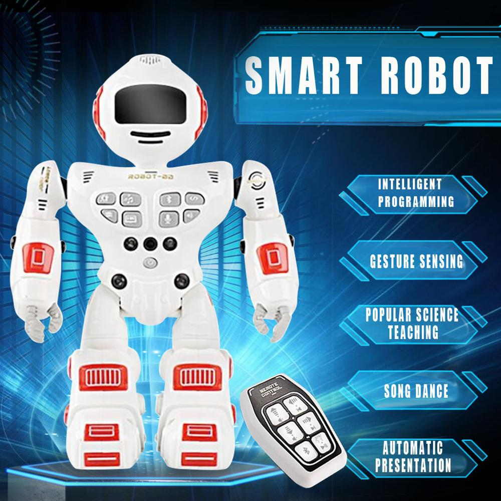 Children Intelligent Programming Gesture Sensing LED Dancing Action Robot RC Remote Control  Toy For Kids Gifts