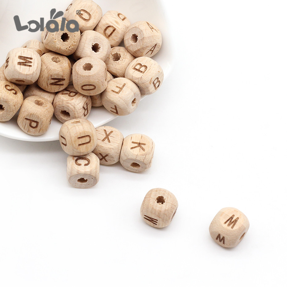 100pc Square Natural Wooden Bead Carved Beech Letter Alphabet DIY Beads For Bracelet Jewelry Making DIY Accessories Mixed