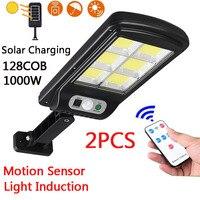 Farola LED Solar 128COB, 2 uds., impermeable, Sensor de movimiento, Control remoto inteligente, 300W, luz de pared de seguridad para jardín al aire libre