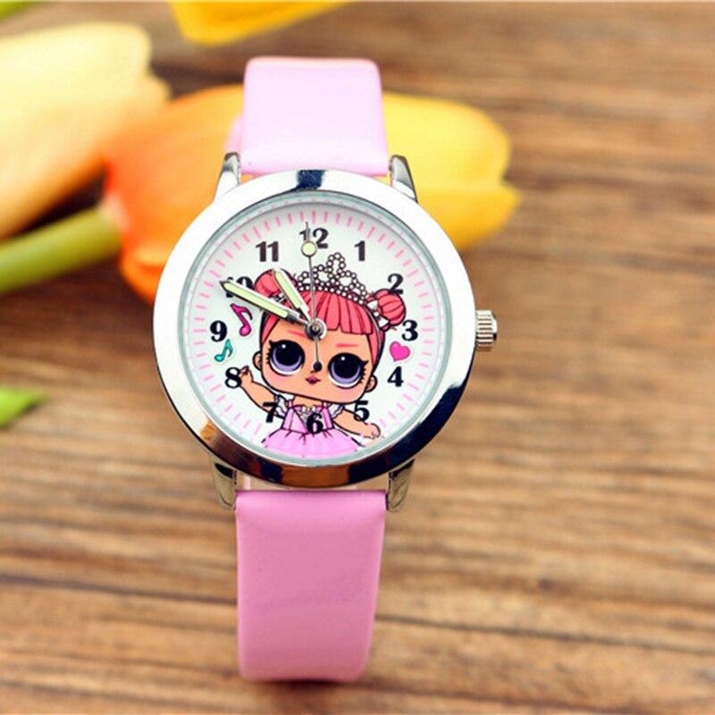 LOL Surprises Originales Cute Pretty Girl Minnie Style Children's Watches Kids Student Girls Quartz Leather Wrist LOLs Watch