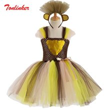 Girls cospaly Small leopard Tulle Tutu Dress+HeadwearHalloween Christmas Theme Party Dress Performance Ball Gown(China)