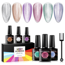 MEET ACROSS Jelly Cat Eye Nail Gel 8ml Magnetic Soak Off UV Gel Lacquers Sparkly Gel Varnish Manicure DIY Design Varnish(China)