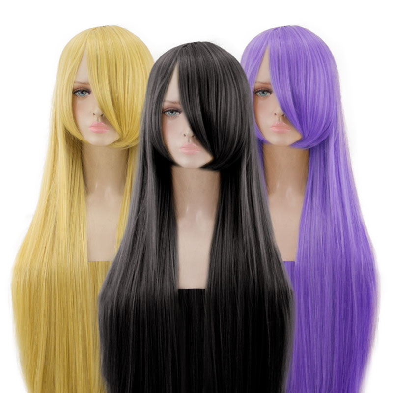 AOSI 26 Colors Colourful 100Cm Long Straight Wig Heat Resistant Synthetic Hair Anime Party Cartoon Cosplay Wigs For Women