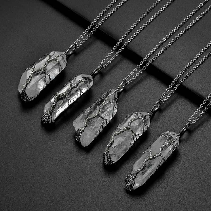 SEDmart 7Chakra Ainbow pierre naturelle cuivre fil pendentif collier pour femmes hommes longue chaîne arbre de vie déclaration bijoux cadeau