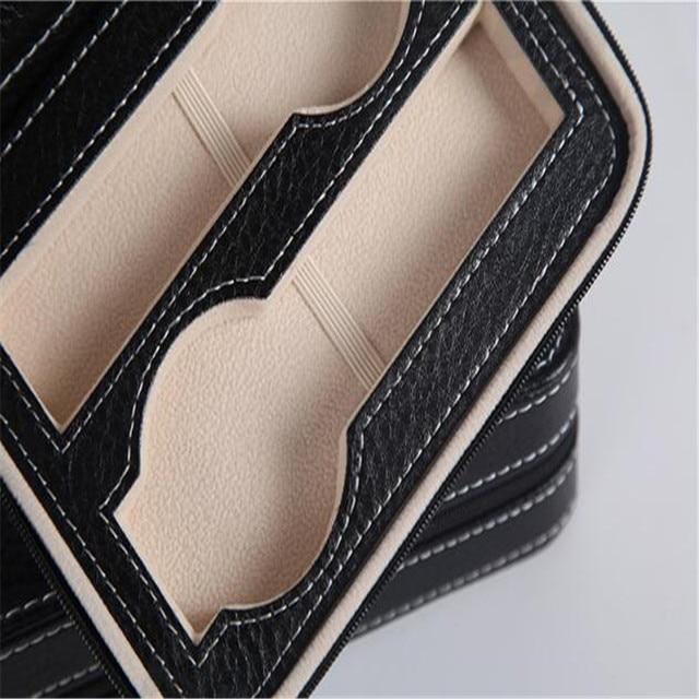 Watch Box PU Leather Portable Zipper Organizer 6