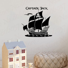 Pirates Ship Custom Personalised Name wall sticker Captain Pirates bedroom stickers decal vinyl Wallpapers WL1960 custom name wall sticker never grow up vinyl cartoon wall art decals pirates ship decal hook kids wall decal bedroom decor hy750