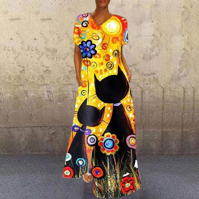 Blue A-Line Short sleeve print dresses Vintage portrait print V neck long dress Causal Mulitcolor patchwork loose dress 2