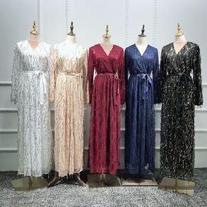 Image 4 - Di modo di Paillettes Nappa Abaya Turco Abiti Hijab Musulmano Abito Da Dubai Abaya per Le Donne Caftano Marocain Caftano Abbigliamento Islamico